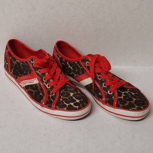 COACH Red and Leopard Print Leather Trim Sneakers